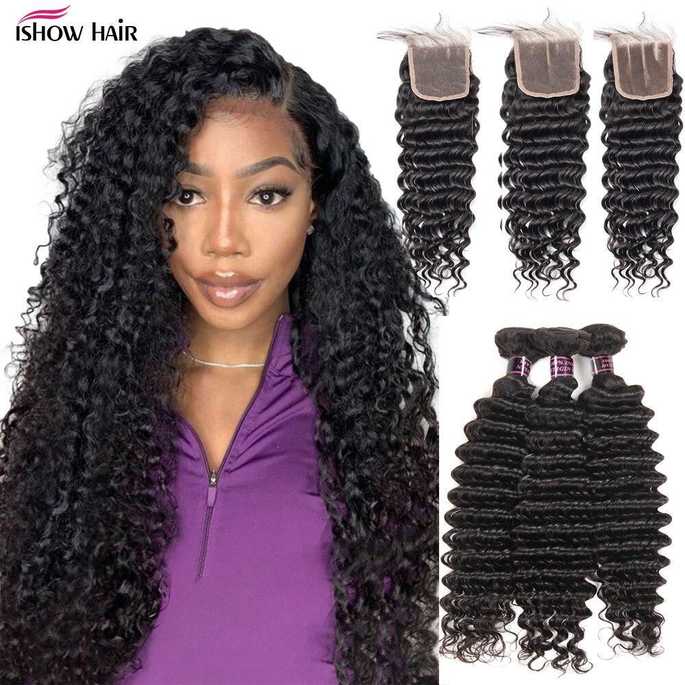 Ishow Deep Wave Bundles With Closure Malaysian Hair Bundles with Closure 3 Bundles and Closure with Bundles Human Hair Weave